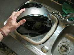cleaning crash helmets warm water