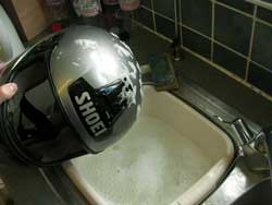 crash helmet cleaning exterior shell