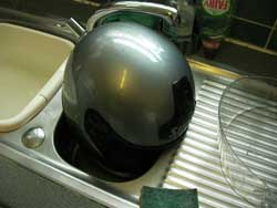 drying crash helmets in the sink