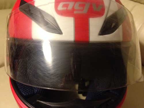 AGV-S-4-crash-helmet scratched visor