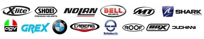lots of crash helmet logos