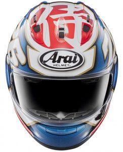 arai-rx-7v-pedrosa-samurai-replica-motorbike-crash-helmet-front-view