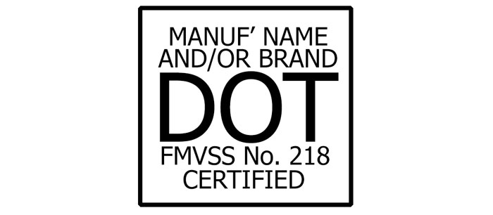 DOT motorcycle helmet certification logo