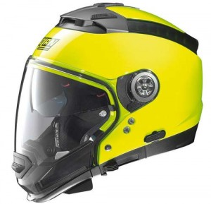 Nolan N44 evo hi-vis crash helmet side view