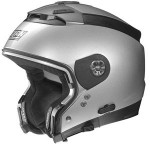 Nolan-N44-evo-silver-crash-helmet-side-view