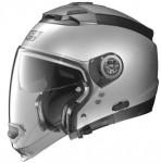 Nolan-N44-evo-silver-crash-helmet-side-view-no-chin-guard