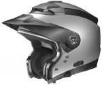 Nolan-N44-evo-silver-crash-helmet-side-view-sun-peak