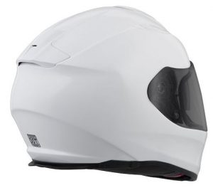 scorpion exo t510 solid white motorcycle helmet rear view