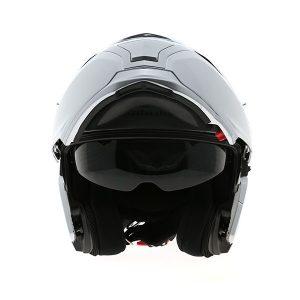 Kabuto_Ibuki-flip up motorcycle helmet Aluminium_Silver_open_front view