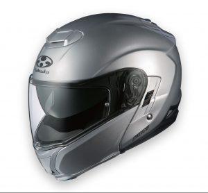 kabuto Ibuki aluminum silver modular crash helmet side view