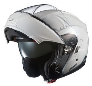 kabuto Ibuki pearl white modular crash helmet open