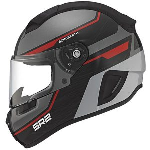 Schuberth SR2 motorcycle helmet lightning red side view