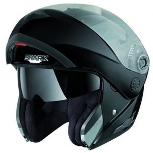 Shark openline prime black crash helmet front view open