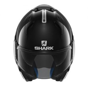 shark-evo-one-gloss-black-motorcycle-helmet-front-chin-guard-up