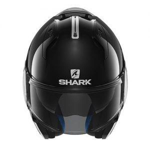 shark-evo-one-gloss-black-motorcycle-helmet-front-chin-guard-up
