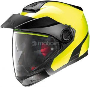 Nolan n40-5 GT N-com hi viz yellow motorcycle helmet side view