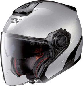 Nolan n40-5 GT N-com silver motorcycle crash helmet side view
