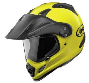 arai xd4 Tour X4 hi viz neon yellow crash helmet side view
