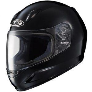 HJC-CLY-Solid-Black-motorcycle-helmet-side-view