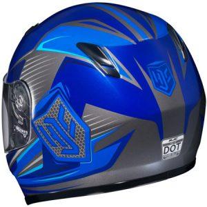 HJC-CLY-Striker-blue-grey-crash-helmet-rear-view