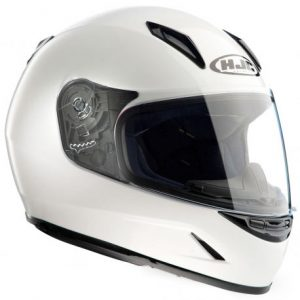 HJC-CLY-solid-gloss-white-motorcycle-crash-helmet-side-view
