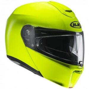 HJC-RPHA-90-metal-crash-helmet-in-fluorescent-green-side-view