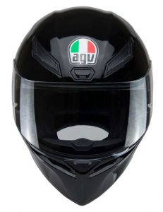 agv-k1-motorbike-crash-helmet-gloss-black-front-view