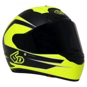 6D ATS 1 crash helmet in fluo yellow black front view