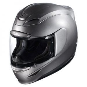 Icon-Airmada-silver-crash-helmet-front-view