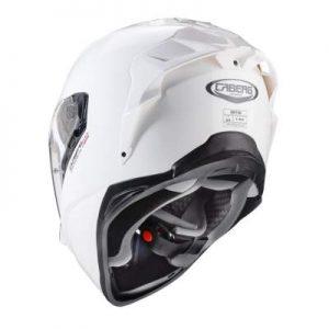 caberg drift evo composite motorbike helmet gloss white rear view