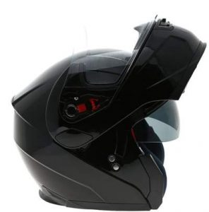 duchinni d606 black modular motorbike helmet side view