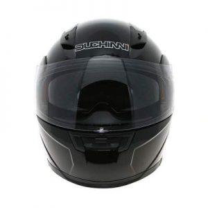 duchinni d606 gloss black modular helmet front view