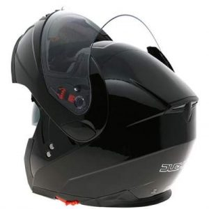 duchinni d606 gloss black modular helmet rear view