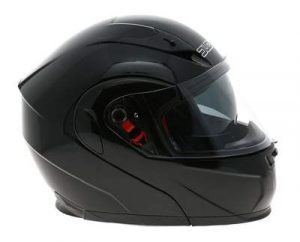 duchinni d606 gloss black modular helmet side view