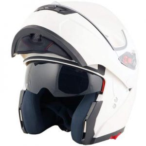 duchinni d606 gloss white helmet chin bar up front view