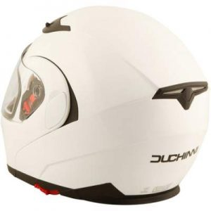 duchinni d606 gloss white motorcycle helmet rear view
