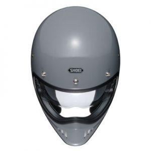 Shoei Ex-Zero gloss grey retro helmet top down view