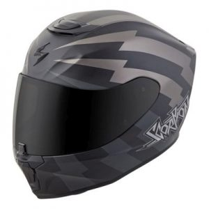 scorpion exo r 410 crash helmet tracker grey side view