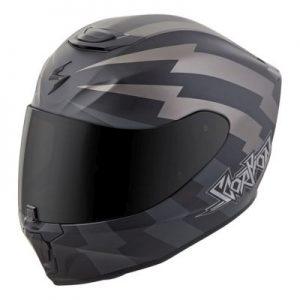scorpion exo r 410 crash helmet tracker grey side view