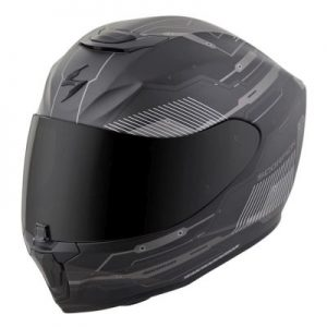 scorpion exo r 410 motorcycle crash helmet techno graphics grey