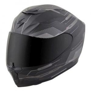 scorpion exo r 410 motorcycle crash helmet techno graphics grey