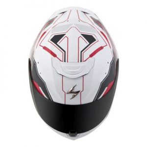 scorpion exo r 410 motorcycle crash helmet techno graphics red white top view