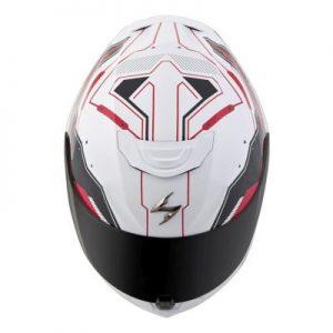 scorpion exo r 410 motorcycle crash helmet techno graphics red white top view