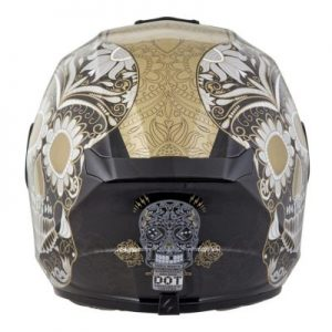 scorpion exo r 410 motorcycle helmet Sugar Skull gold rear view
