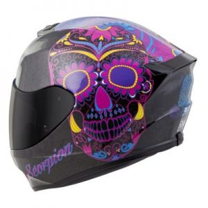 scorpion exo r 410 motorcycle helmet Sugar Skull pink side view