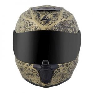 scorpion exo r 410 shake black gold motorcycle helmet front view
