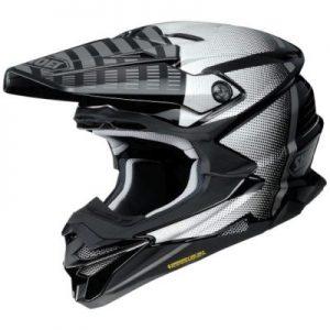 shoei vfx evo blazon motocross crash helmet side view
