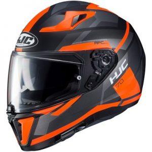 black orange hjc i70 elim full face motorcycle helmet side view
