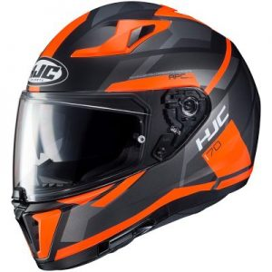 black orange hjc i70 elim full face motorcycle helmet side view
