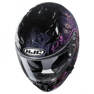 hjc i70 Varok motorbike crash helmet top view